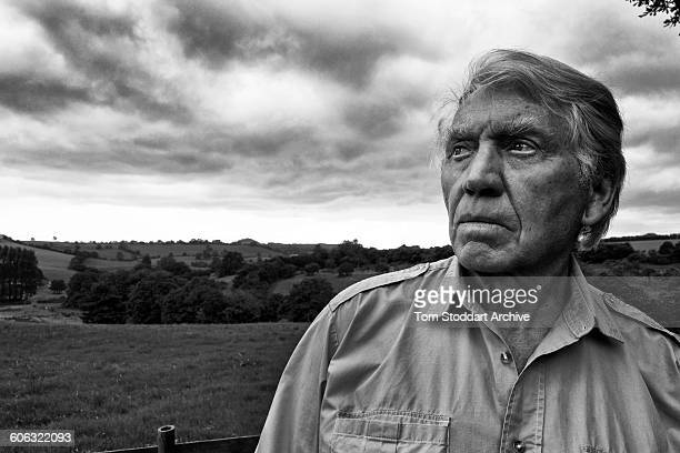 British war photographer Don McCullin in the garden at his home in Somerset 21st July 2015