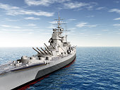 Computer generated 3D illustration with a British warship of World War II