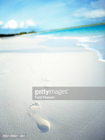 British West Indies, Anguilla, footprints on white sandy beach