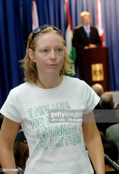 British woman Kirsty who lives in Ramallah wearing a T shirt protesting about Prime Minister Tony Blair during the joint Press Conference between...