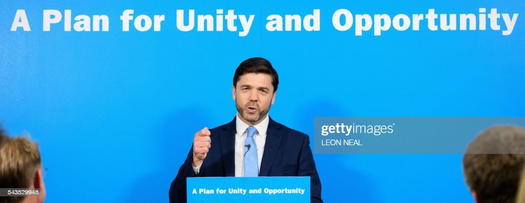 British Work and Pensions Secretary and Conservative MP, Stephen Crabb, speaks at a news conference in central London on June 29, 2016, where he announced his candidacy for the leadership of the Conservative Party. British Prime Minister David Cameron's successor will be announced on September 9 after nominations are submitted by June 30 at the latest, the Conservative Party said. Britain has been pitched into uncertainty by the result of the June 23 referendum, with Cameron announcing his resignation, the economy facing a string of shocks and Scotland making a fresh threat to break away. / AFP / LEON