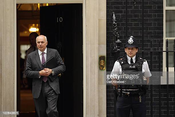 British Work and Pensions Secretary Iain Duncan Smith leaves Downing Street after the weekly cabinet meeting on July 13 2010 in London England The...