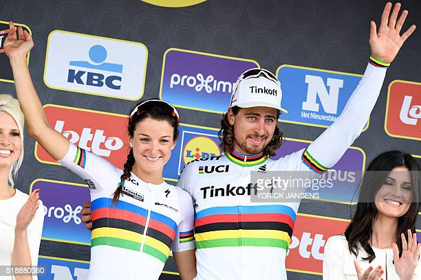 British World Champion Elizabeth Armitstead and Slovakian world champion Peter Sagan celebrate on the podium after winning the 100th edition of the...
