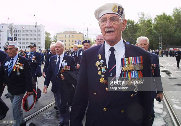 British World War 2 veteran participates in a ceremony August 31 2001 in Arkhangelsk Russia British World War II veterans who were members of the...