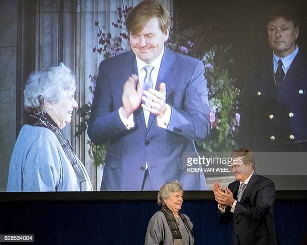 British writer Antonia Susan Byatt also known as A S Byatt receives the 'Erasmusprijs 2016' from Dutch King WillemAlexander at the Royal Palace in...