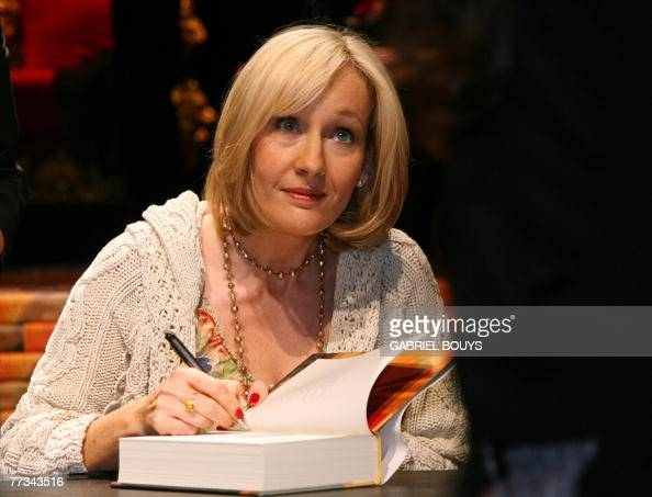 British writer JK Rowling signs copies of 'Harry Potter and the Deathly Hallows' for 1600 public schools children at the Kodak Theater in Hollywood...