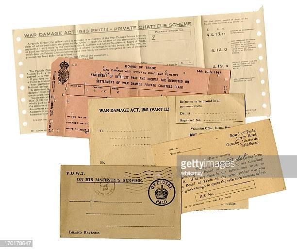 British WW2 war damage paperwork