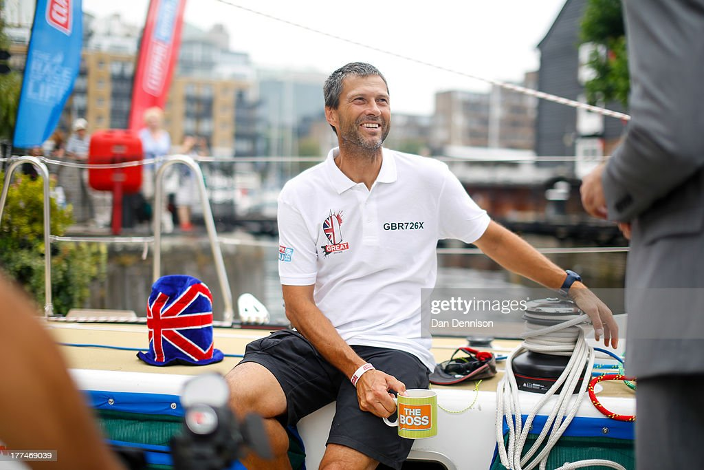 British yachstman Simon Talbot, skipper of the clipper ship 'GREAT Britain', speaks to media on board the race yacht moored in St Katherine's Dock, east London on August 23, 2013. The 40,000 mile, 8-leg course begins on September 1 and will visit six continents, taking eleven months to complete.