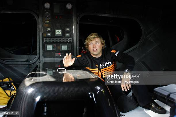 British yachtsman Alex Thomson in the cabin of his yacht Hugo Boss aboard which he will compete in the gruelling Vendee Globe Race in November