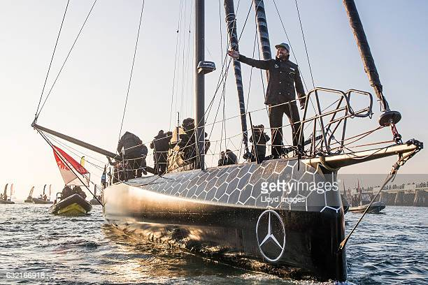 British yachtsman Alex Thomson onboard his 'Hugo Boss' IMOCA Open60 as he finishes 2nd in the Vendee Globe solo non stop around the world yacht race...