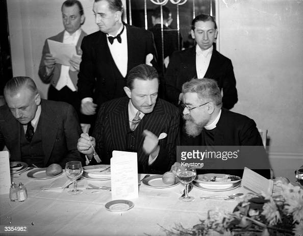 British Zionist and Chief Rabbi Joseph Hertz and Count Edward Raczynski Polish ambassador to Britain conversing during a lunch at Dorchester Hotel...