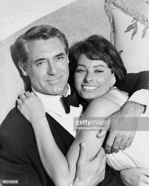 BritishAmerican actor Cary Grant with Italian actress Sophia Loren his costar in 'Houseboat' 1958
