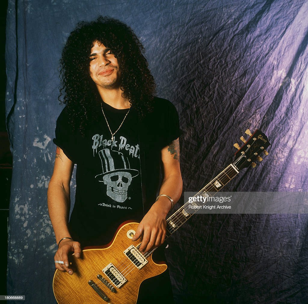 British-American guitarist Slash (Saul Hutson), of American rock group Guns N' Roses, 1990.