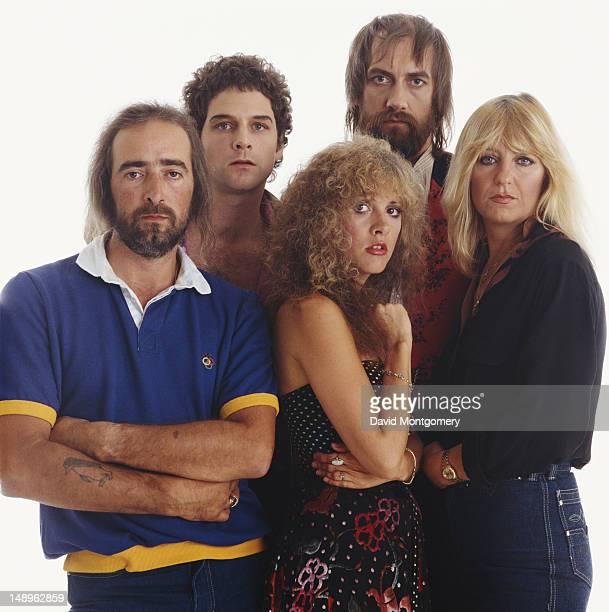 BritishAmerican rock group Fleetwood Mac circa 1982 From left to right bassist John McVie guitarist Lindsey Buckingham singer Stevie Nicks drummer...
