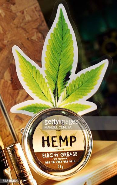 Britishbased cosmetic outlet The Body Shop displays one of their new products 'Hemp Elbow Grease' decorated with a cutout picture of a leaf the same...
