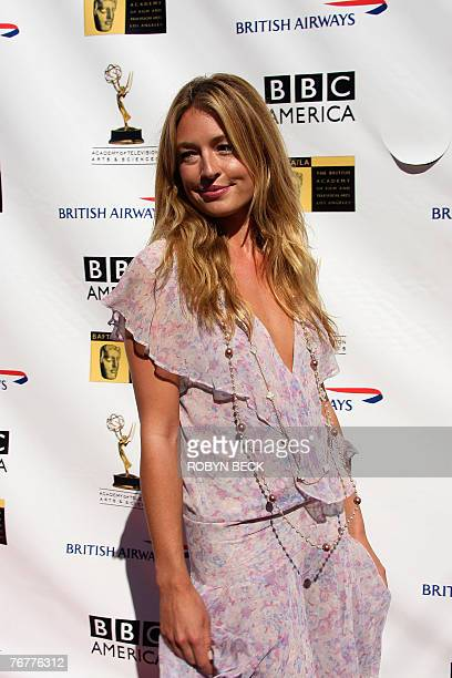 Britishborn actress Cat Deeley arrives for a preEmmy Awards tea party hosted by the British Academy of Film Television Arts/Los Angeles and the...