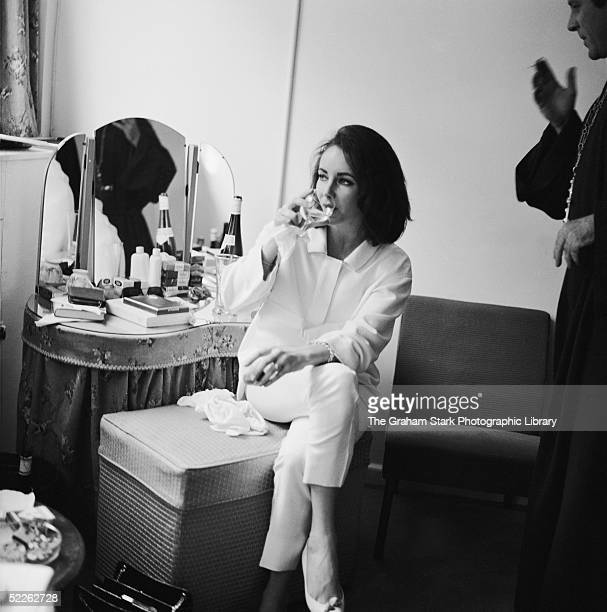 Britishborn actress Elizabeth Taylor and Welsh actor Richard Burton during filming of Peter Glenville's 'Becket' in which Burton plays the title role...