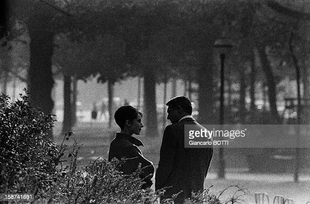 Britishborn Amercican actor Cary Grant with female counterpart Audrey Hepburn on the set of thriller and romance film 'Charade' directed by Stanley...