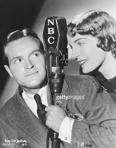 Britishborn American comedian Bob Hope master of ceremonies on NBC Radio's 'Rippling Rhythm Revue' with his sidekick 'Honeychile' 8th June 1937