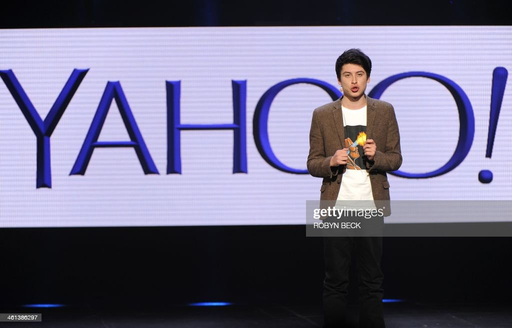 British-born Australian entrepreneur and Yahoo! Product Manager Nick D'Aloisio speaks on stage during the keynote address by Yahoo CEO Marissa Mayer, at the 2014 International CES in Las Vegas, Nevada, January 7, 2014. D'Aloisio, who sold Summly to Yahoo! for $30m, unveiled Yahoo! News Digest with Mayer during the keynote address. AFP PHOTO / Robyn Beck