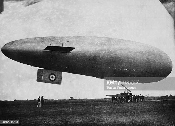 A Britishbuilt SS class airship being launched on a reconnaissance flight over the Somme World War I August 1916 The gondola of the airship is a BE2c...