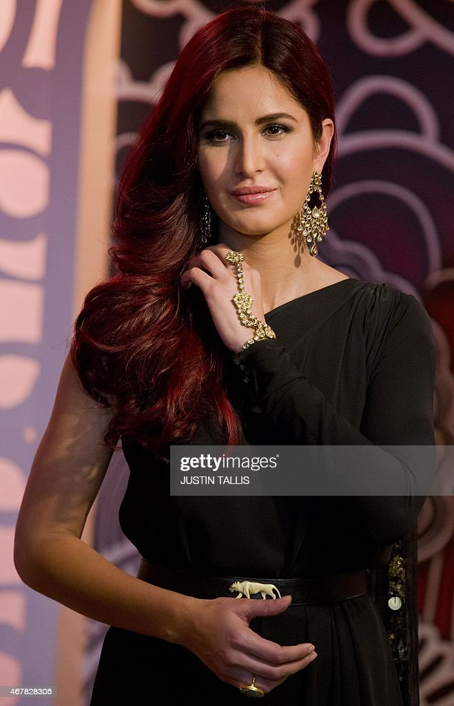 BritishIndian film actress and model Katrina Kaif is pictured during a photocall to unveil a wax figure of herself at Madame Tussauds in London on...