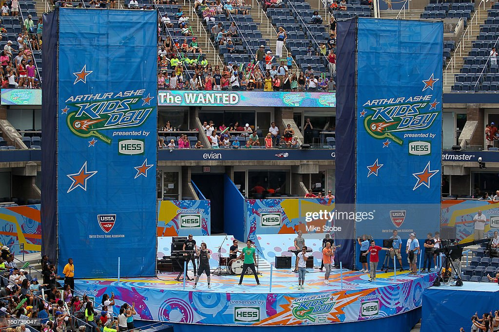 British-Irish boy band, The Wanted, perform during the Stadium Show on Arthur Ashe Kids' Day prior to the start of the 2012 U.S. Open at the USTA Billie Jean King National Tennis Center on August 25, 2012 in the Flushing neighborhood, of the Queens borough of New York City.