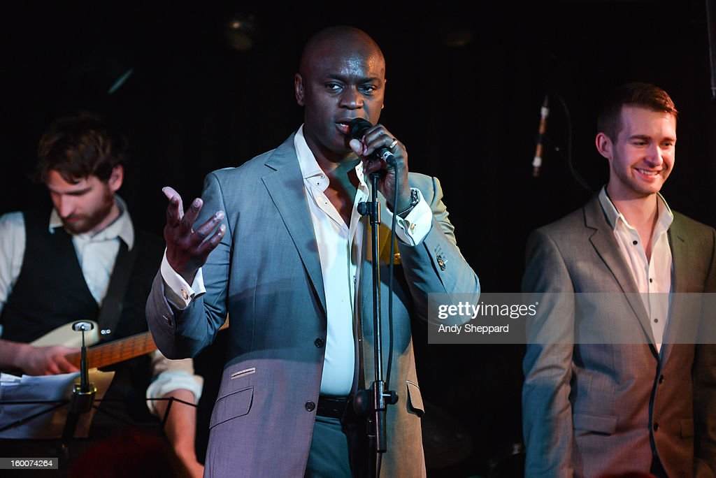 British-Nigerian singer <a gi-track='captionPersonalityLinkClicked' href=/galleries/search?phrase=Ola+Onabule&family=editorial&specificpeople=6584306 ng-click='$event.stopPropagation()'>Ola Onabule</a> (C) performs on stage at Pizza Express Jazz Club on January 25, 2013 in London, England.