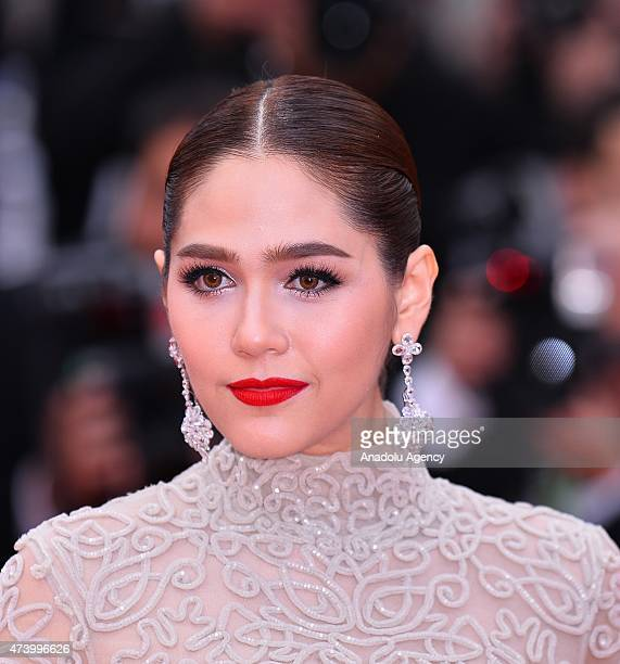 BritishThai actress Araya A Hargate arrives for the screening of the film 'Sicario' at the 68th annual Cannes Film Festival in Cannes France on May...