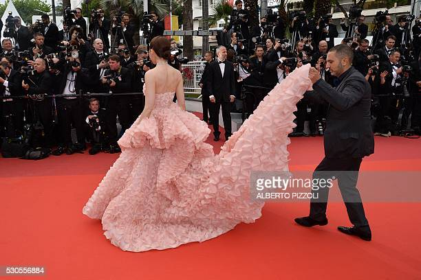BritishThai actress Araya Hargate arrives on May 11 2016 for the opening ceremony of the 69th Cannes Film Festival in Cannes southern France / AFP /...