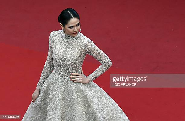 BritishThai actress Araya Hargate poses as she arrives for the screening of the film 'Sicario' at the 68th Cannes Film Festival in Cannes...