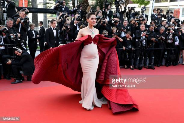 BritishThai actress Araya Hargate poses as she arrives on May 21 2017 for the screening of the film 'The Meyerowitz Stories ' at the 70th edition of...