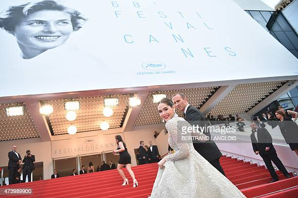 BritishThai actress Araya Hargate smiles as she arrives for the screening of the film 'Sicario' at the 68th Cannes Film Festival in Cannes...