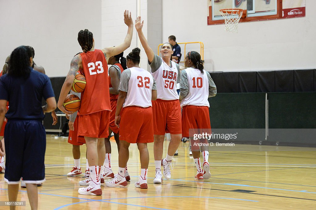 Britney Griner #23 and Odyssey Sims #20 high five during the USA Womens National Team Mini-Camp on October 4, 2013 at the Cox Pavilion in Las Vegas, Nevada.