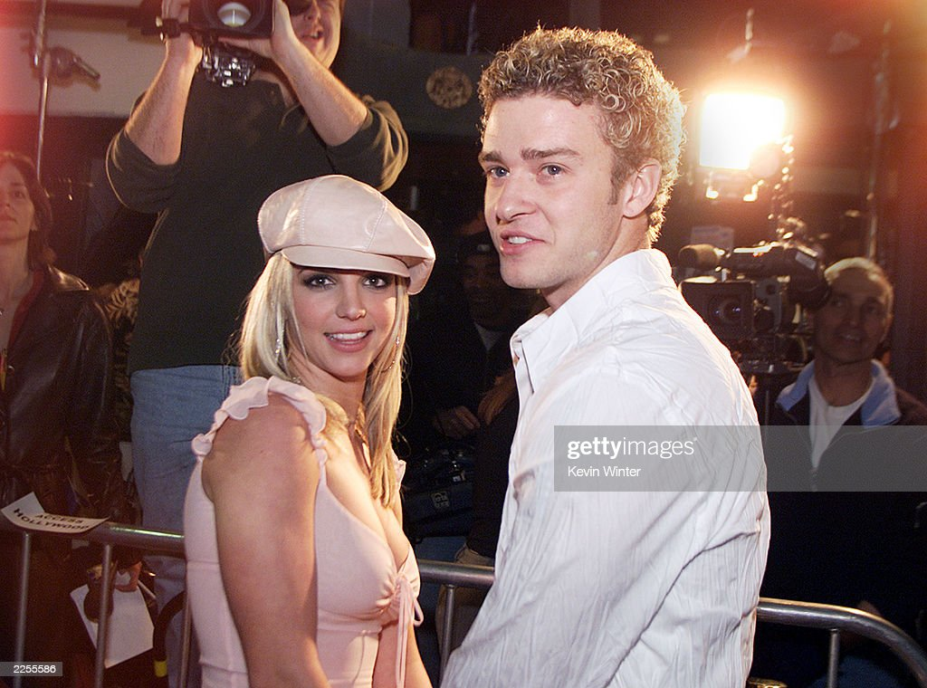 Britney Spears and boyfriend Justin Timberlake arrive at the premiere of her movie 'Crossroads' at the Mann Chinese Theatre in Hollywood, Ca., Feb. 11, 2002.