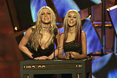 Britney Spears and Christina Aguilera at the 2000 MTV Video Music Awards at Radio City Music Hall in new York City 9/7/00