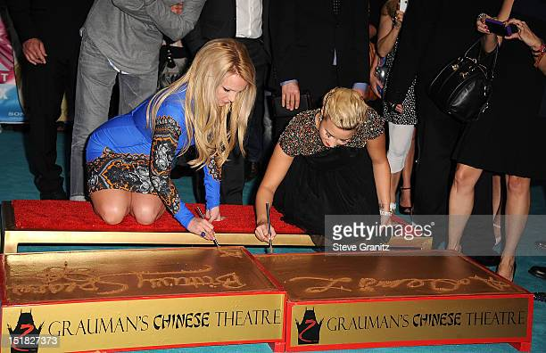 Britney Spears and Demi Lovato arrives at the 'The X Factor' Season 2 Premiere Party at Grauman's Chinese Theatre on September 11 2012 in Hollywood...