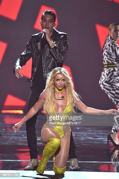 Britney Spears and G Eazy perform onstage during the 2016 MTV Video Music Awards at Madison Square Garden on August 28 2016 in New York City