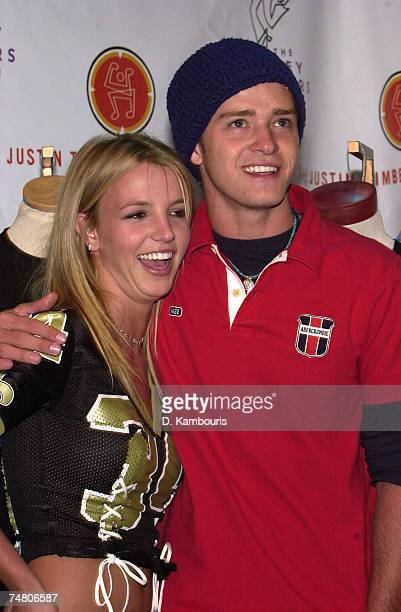 Britney Spears and Justin Timberlake at the Planet Hollywood Times Square in New York City New York