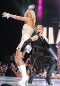 Britney Spears and Madonna during 2003 MTV Video Music Awards Show at Radio City Music Hall in New York City New York United States