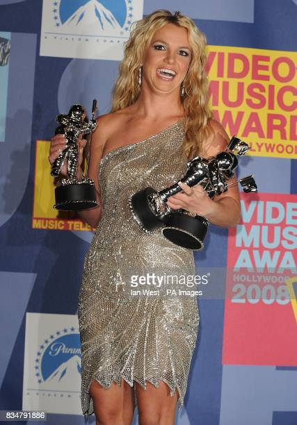 Britney Spears backstage at the MTV Video Music Awards 2008 at Paramount Studios Hollywood Los Angeles California