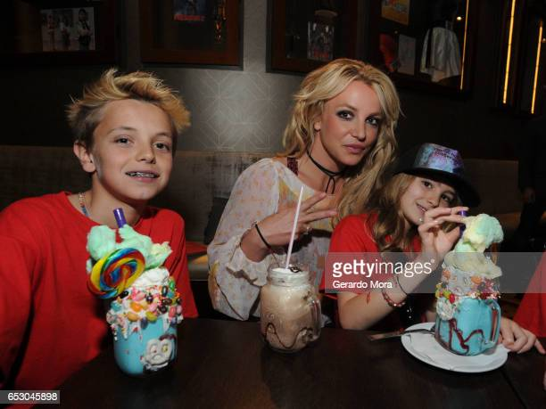 Britney Spears enjoys a family outing with Jayden Federline and Maddie Aldridge at Planet Hollywood Disney Springs on March 13 2017 in Orlando Florida