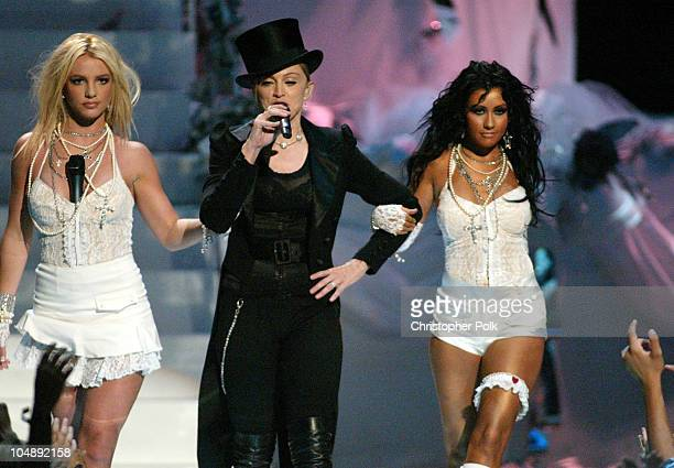 Britney Spears Madonna and Christina Aguilera during 2003 MTV Video Music Awards Show at Radio City Music Hall in New York City New York United States