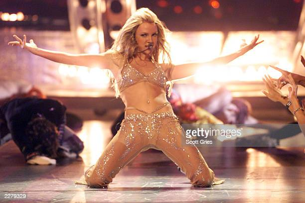 Britney Spears performing onstage at the 2000 MTV Video Music Awards held at Radio City Music Hall on September 7 2000 Photographer Scott...