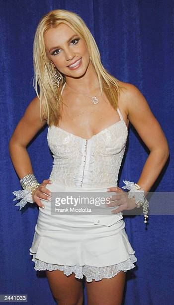 Britney Spears poses backstage during the 2003 MTV Video Music Awards at Radio City Music Hall on August 28 2003 in New York City