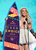 Britney Spears speaks onstage during the Teen Choice Awards 2015 at the USC Galen Center on August 16 2015 in Los Angeles California