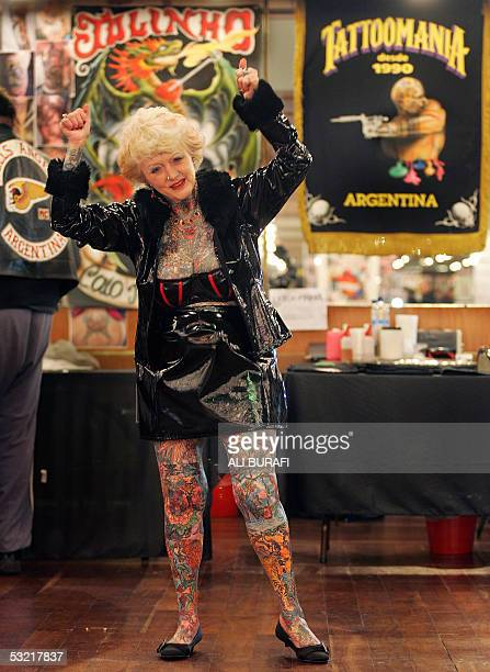 Briton Isobel Varley the world's eldest tattooed woman according to the Guinness Book of Records poses at a hotel in Buenos Aires 09 July 2005 Varley...