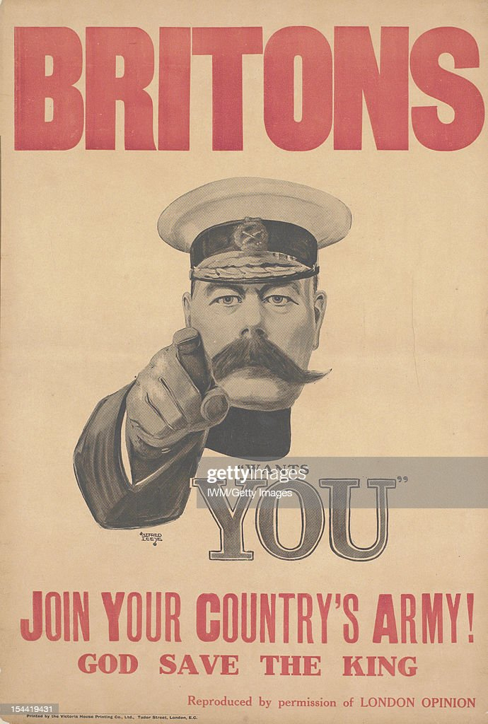 Britons. Join Your Country's Army! Portrait length depiction of Field Marshal <a gi-track='captionPersonalityLinkClicked' href=/galleries/search?phrase=Lord+Kitchener&family=editorial&specificpeople=224903 ng-click='$event.stopPropagation()'>Lord Kitchener</a>, wearing a cap, his right hand raised to point towards the viewer, circa 1914.