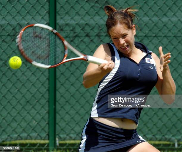 Briton's Katie OBrien in action against France's Irena Pavlovic during the Surbiton Trophy tournament at Surbiton Racket and Fitness Club Surrey