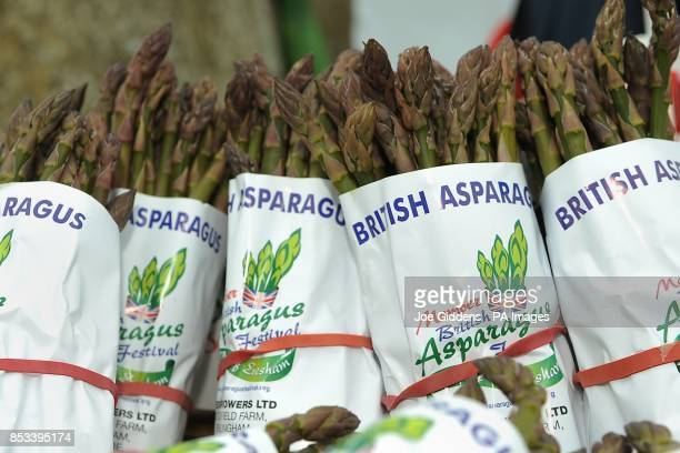 Britsh asparagus on sale at Broadway Tower as locals celebrate the start of the Asparagus season